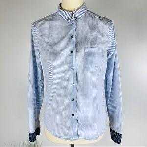 Edme & Esyllte Anthro Blue White Button Down Shirt
